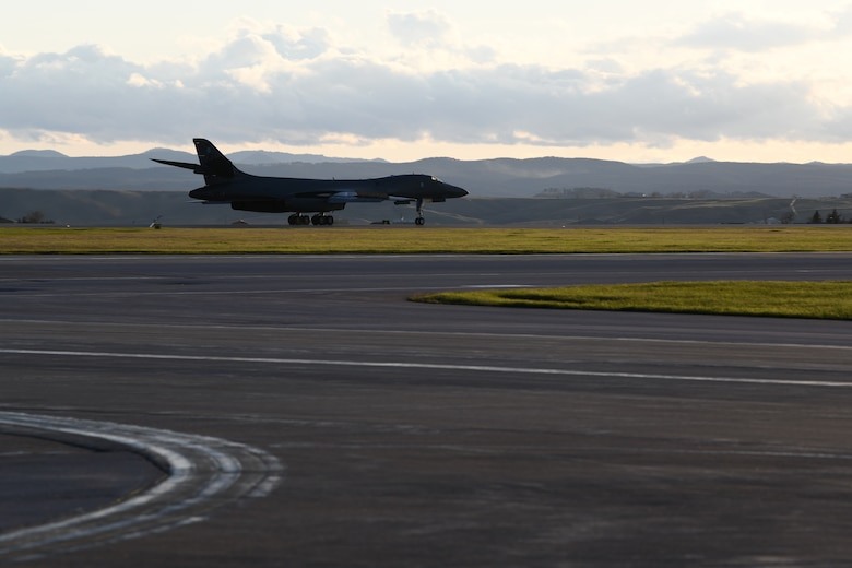 A B-1B Lancer assigned to Ellsworth Air Force Base, S.D., returns from a more than 25-hour non-stop deployment to the Baltic Sea, May 5, 2020. The mission is not in direct response to specific actions taken by any nation, but rather supported allies and partners in preserving regional security and stability all while improving effectiveness and interoperability. (U.S. Air Force photo by Senior Airman Nicolas Z. Erwin)