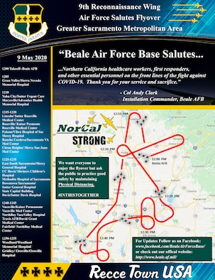 "The Recce Town T-38s and 9th Reconnaissance Wing will be performing a formation flyover throughout Northern California, Saturday, 09 May, beginning at 12 p.m., in salute to everyone on the frontlines in the fight against COVID-19, as well as those staying at home to ""flatten the curve"" of the virus."