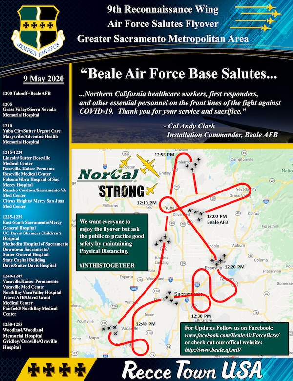 """The Recce Town T-38s and 9th Reconnaissance Wing will be performing a formation flyover throughout Northern California, Saturday, 09 May, beginning at 12 p.m., in salute to everyone on the frontlines in the fight against COVID-19, as well as those staying at home to """"flatten the curve"""" of the virus."""
