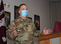 Col. Rob Heath, the commander of the U.S. Army Medical Department Activity (MEDDAC), Fort Drum, N.Y., speaks to participants of the National Nurses Week kick-off celebration at the Guthrie Ambulatory Healthcare Clinic on Fort Drum, May 6.