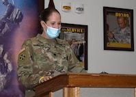 Lt. Col. Kristine Broger, the deputy commander for nursing, U.S. Army Medical Department Activity (MEDDAC), Fort Drum, N.Y., speaks to participants of the National Nurses Week kick-off celebration at the Guthrie Ambulatory Healthcare Clinic on Fort Drum, May 6.