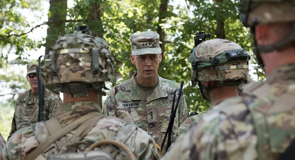 Lt. Gen. Daniel Hokanson, nominated May 4, 2020, to be the next chief of the National Guard Bureau, accompanies Gen. James C. McConville, vice chief of staff of the Army, to Fort Pickett, Virginia, July 19, 2019, to see Soldiers of the Virginia National Guard's 116th IBCT training in preparation for their Joint Readiness Training Center rotation.