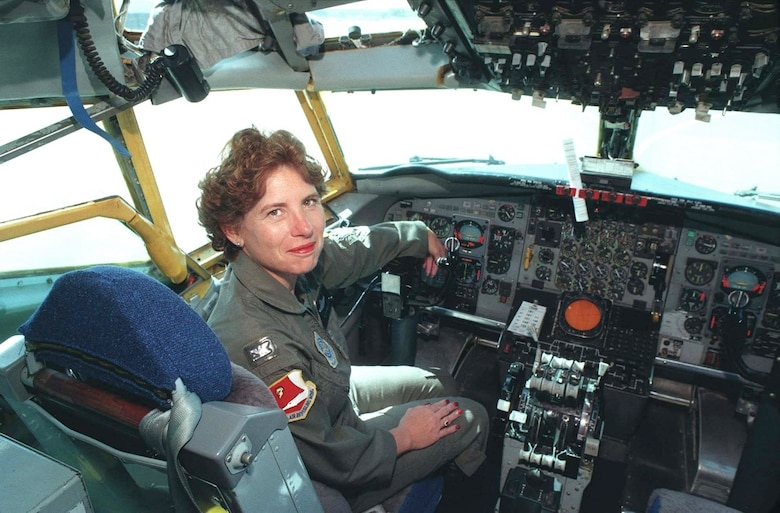 Colonel Betty L. Mullis sits in the flight deck in the 1990s in Northern California.