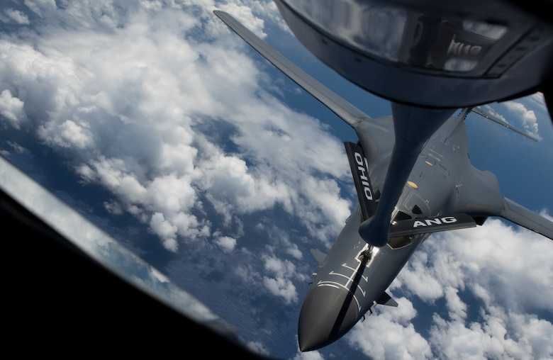 A 9th Expeditionary Bomb Squadron B-1B Lancer is refueled by an Ohio Air National Guard KC-135 Stratotanker from the 166th Aerial Refueling Squadron over the East China Sea May 6, 2020, during training mission. The 9th EBS is deployed to Andersen Air Force Base, Guam, as part of a Bomber Task Force supporting Pacific Air Forces' strategic deterrence missions and  commitment to the security and stability of the Indo-Pacific region. (U.S. Air Force photo by Senior Airman River Bruce)