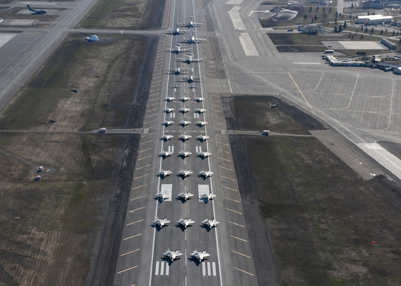 U.S. Air Force aircraft assigned to the3rd Wing, 176th Wing and the 477th Fighter Group forman elephant walk at Joint Base Elmendorf-Richardson, Alaska, May 5, 2020. The large show-of-force demonstrated the wings' rapid mobility capabilities and response readiness during COVID-19 and also highlighted the ability to generate combat airpower at a moment's notice to ensure regional stability throughout the North American Aerospace Defense Command Region and Indo-Pacific.