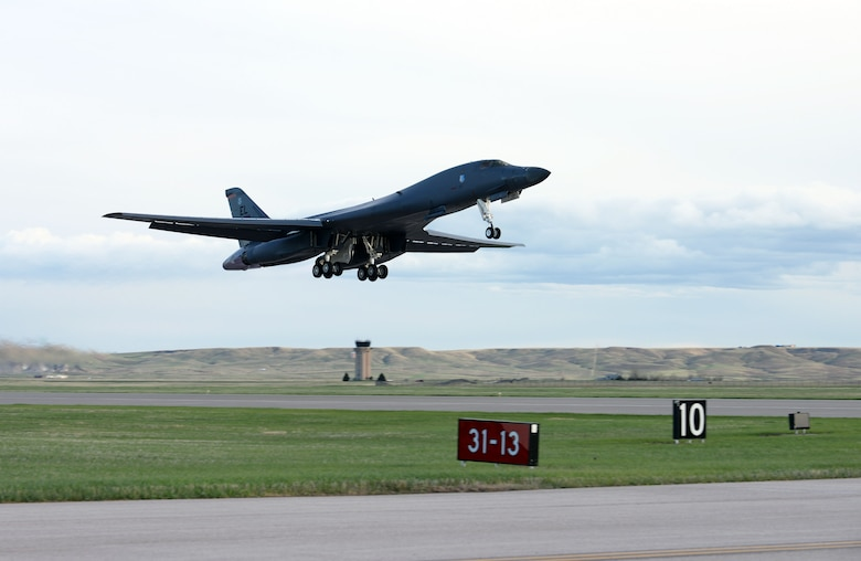 A B-1B Lancer launches for a non-stop deployment from Ellsworth Air Force Base, S.D., May 4, 2020. U.S. Strategic Command first conducted these missions in 2014 as demonstrations of U.S. commitment to collective security.  (U.S. Air Force photo by Airman Quentin Marx)