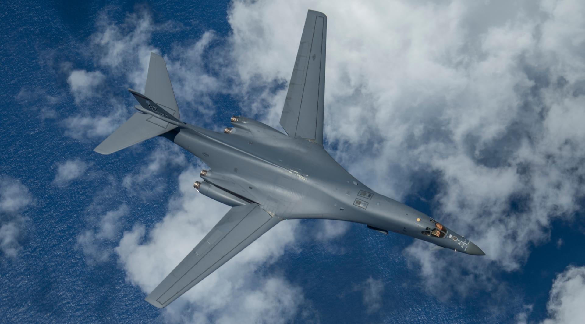 A 9th Expeditionary Bomb Squadron B-1B Lancer flies over the East China Sea May 6, 2020, during a training mission. The 9th EBS is deployed to Andersen Air Force Base, Guam, as part of a Bomber Task Force supporting Pacific Air Forces' strategic deterrence missions and  commitment to the security and stability of the Indo-Pacific region. (U.S. Air Force photo by Senior Airman River Bruce)