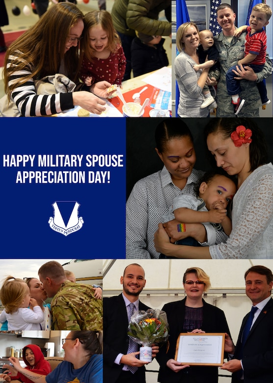 A graphic displaying a number of photos celebrating military spouses in the Kaiserslautern Military Community.