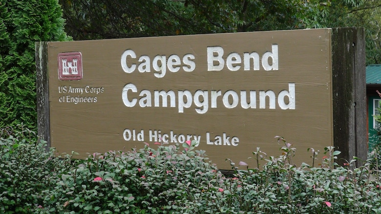 The U.S. Army Corps of Engineers Nashville District is extending its closure of 25 Corps-managed campgrounds within the Cumberland River Basin in Kentucky and Tennessee through at least May 31 in the interest of public safety due to the COVID-19 pandemic. This is the sign for Cages Bend Campground at Old Hickory Lake. (USACE photo by Lee Roberts)