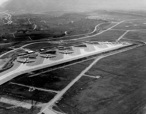 Aerial photo of the SAC satellite alert facility at Hill Air Force Base.