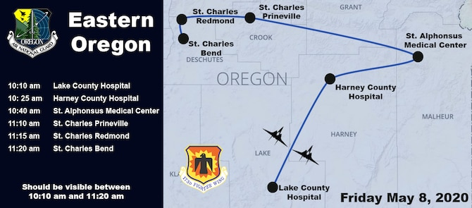 Northern Oregon and SW Washington Flyovers for COVID-19, America Strong