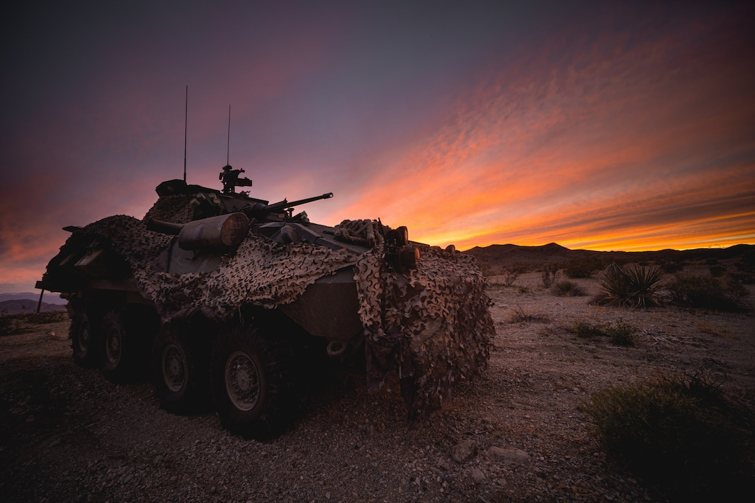 A Light Armored Vehicle-25 is used to secure a position during a Marine Corps Combat Readiness Evaluation at Marine Corps Air Ground Combat Center Twentynine Palms, Calif., March 31.