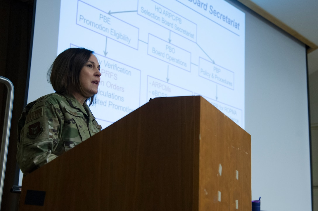 U.S. Air Force Lt. Col. Kimberly Young, assigned to the Force Development branch at Headquarters Air Reserve Personnel delivers a personnel briefing as part of HQ ARPC's Spread the Word program at the National Capital Region Air Force Reserve Assembly April 11-12, 2019 at the Pentagon. In 2020, Young delivered briefings to the NCR, but did so virtually due to the AF Reserve's COVID-19 response efforts.. (U.S. Air Force photo by Staff Sgt. Katrina Brisbin/Released)