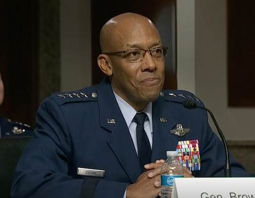 "Gen. Charles ""CQ"" Brown responds to a question, May 7, 2020 on Capitol Hill, Washington, D.C., during a Senate Armed Services Committee hearing to consider his nomination to be the next Air Force chief of staff. Brown was nominated to become the 22nd chief of staff replacing Gen. David L. Goldfein. (C-Span video capture)"