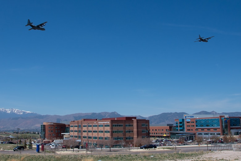 Image shows two large aircraft over Colorado hospital