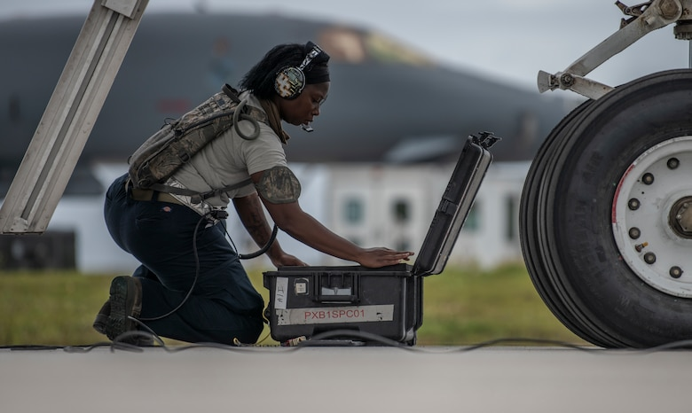 Senior Airman Raisa Ward, 9th Expeditionary Bomb Squadron Aircraft Maintenance Unit avionics technician, organizes a tool box at Andersen Air Force Base, Guam, May 5, 2020, after performing maintenance on a B-1B Lancer. The 9th EBS, and other units assigned to the 7th Bomb Wing of Dyess Air Force Base, Texas, are deployed to Guam as part of a Bomber Task Force to support Pacific Air Forces' training efforts with allies, partners and joint forces; and strategic deterrence missions to reinforce the rules-based order in the Indo-Pacific Region. (U.S. Air Force photo by Senior Airman River Bruce)