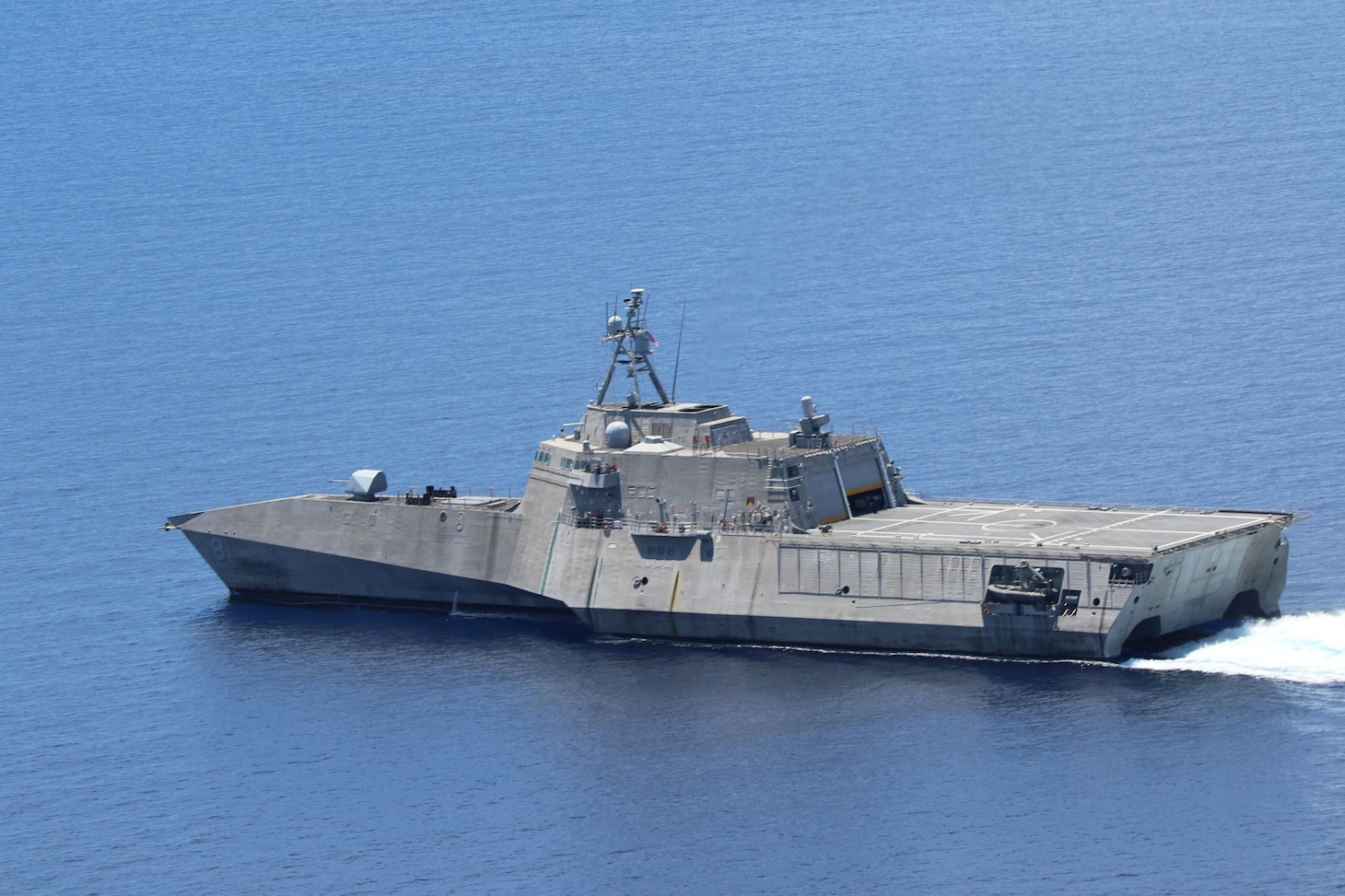 USS Montgomery (LCS 8) and USNS Cesar Chavez (T-AKE 14) operate near drillship West Capella