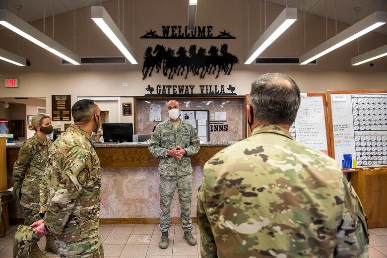 Air Force Chief of Staff Gen. David L. Goldfein tours Gateway Villas May 7, 2020, at Joint Base San Antonio-Lackland, Texas.