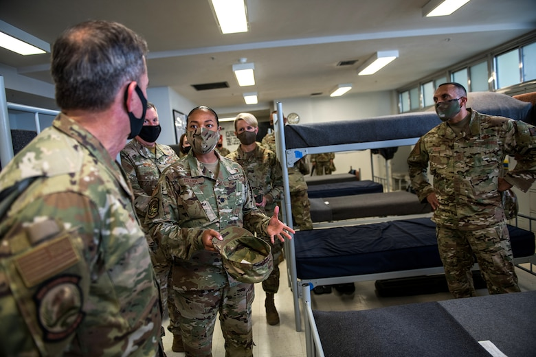 Air Force Chief of Staff Gen. David L. Goldfein (left) and Chief Master Sgt. Manny Pineiro (right), the service's first sergeant special duty manager, visit the Legacy Dormitory May 7, 2020, at Joint Base San Antonio-Lackland, Texas.