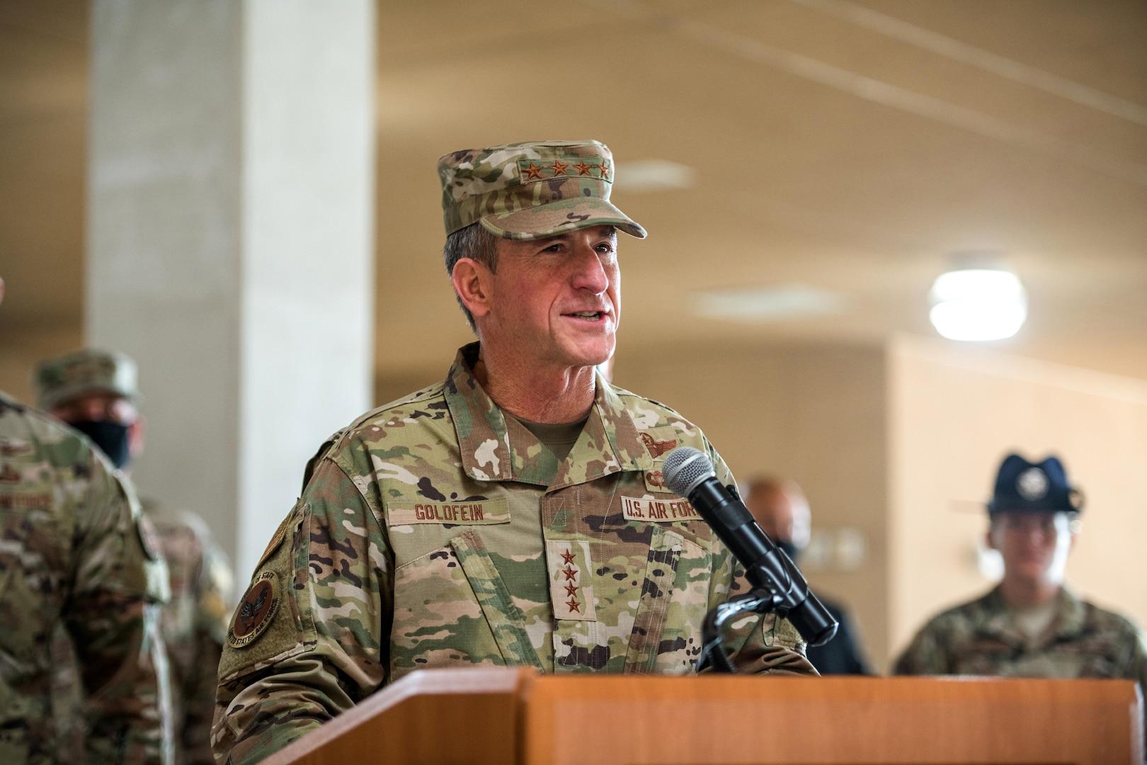 Air Force Chief of Staff Gen. David L. Goldfein addresses Airmen during basic military training graduation May 7, 2020, at Joint San Antonio-Lackland, Texas.