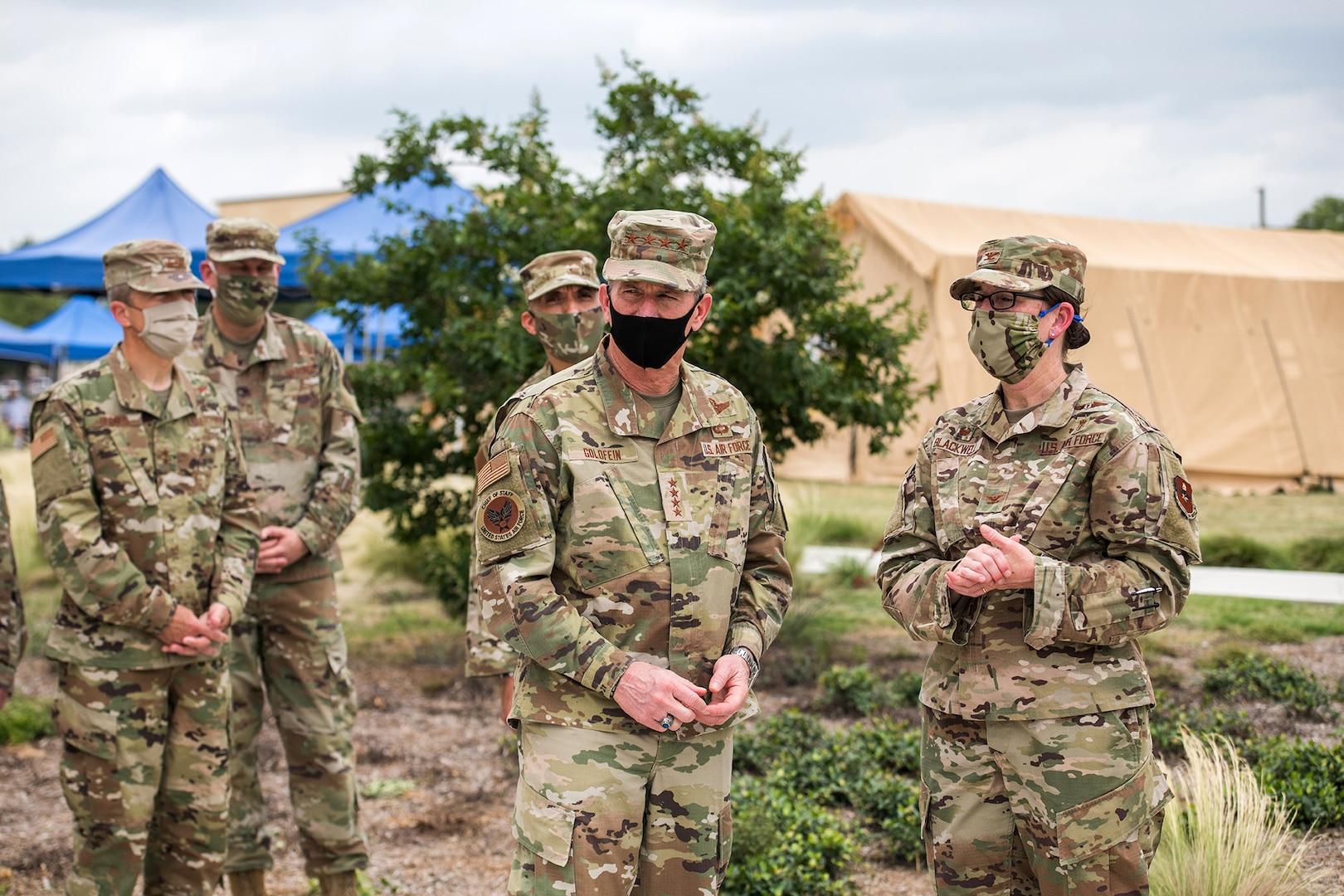 Air Force Chief of Staff Gen. David L. Goldfein (center) visits Reid Clinic May 7, 2020, at Joint Base San Antonio-Lackland, Texas.