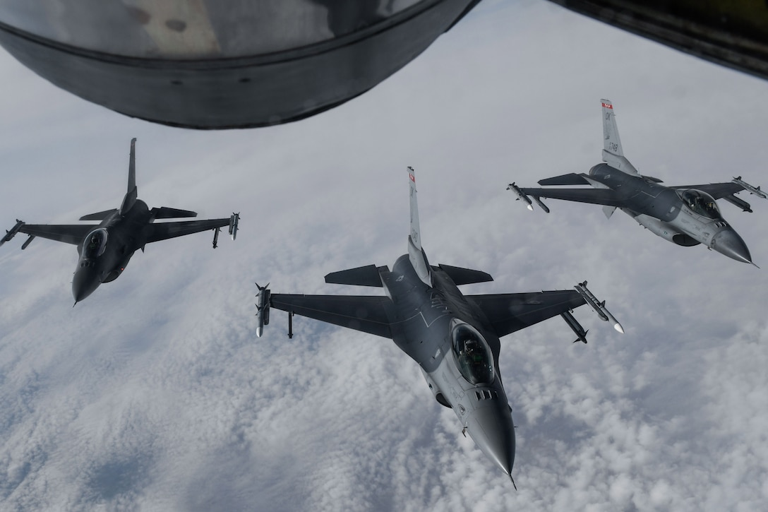 Jets fly in formation