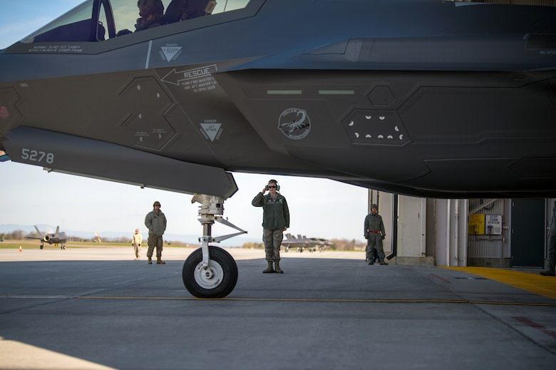 Airman 1st Class Isabel Murphy, a crew chief assigned to the Maintenance Group at the 158th Fighter Wing, launches an F-35 Lightning II at the Vermont Air National Guard Base.