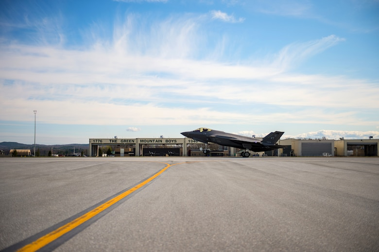 An F-35 Lightning II, Tail 5278, takes flight from the Vermont Air National Guard Base.