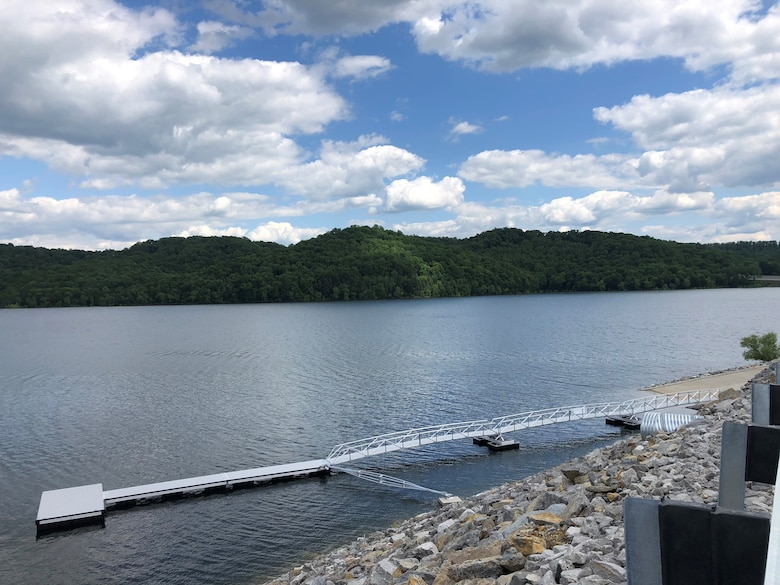 The U.S. Army Corps of Engineers Nashville District announces that Center Hill Recreation Area, located adjacent to Center Hill Dam, is once again open for public use beginning Friday, May 8, 2020.  Center Hill Recreation Area, which includes this boat ramp and courtesy dock, has been closed since 2008 as a result of construction activities related to the Center Hill Dam Rehabilitation Project. (USACE photo by Bailey Carter)