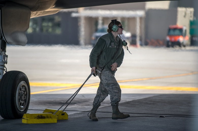 Airman 1st Class Isabel Murphy, a crew chief assigned to the Maintenance Group at the 158th Fighter Wing, prepares an F-35 Lightning II for launch at the Vermont Air National Guard Base