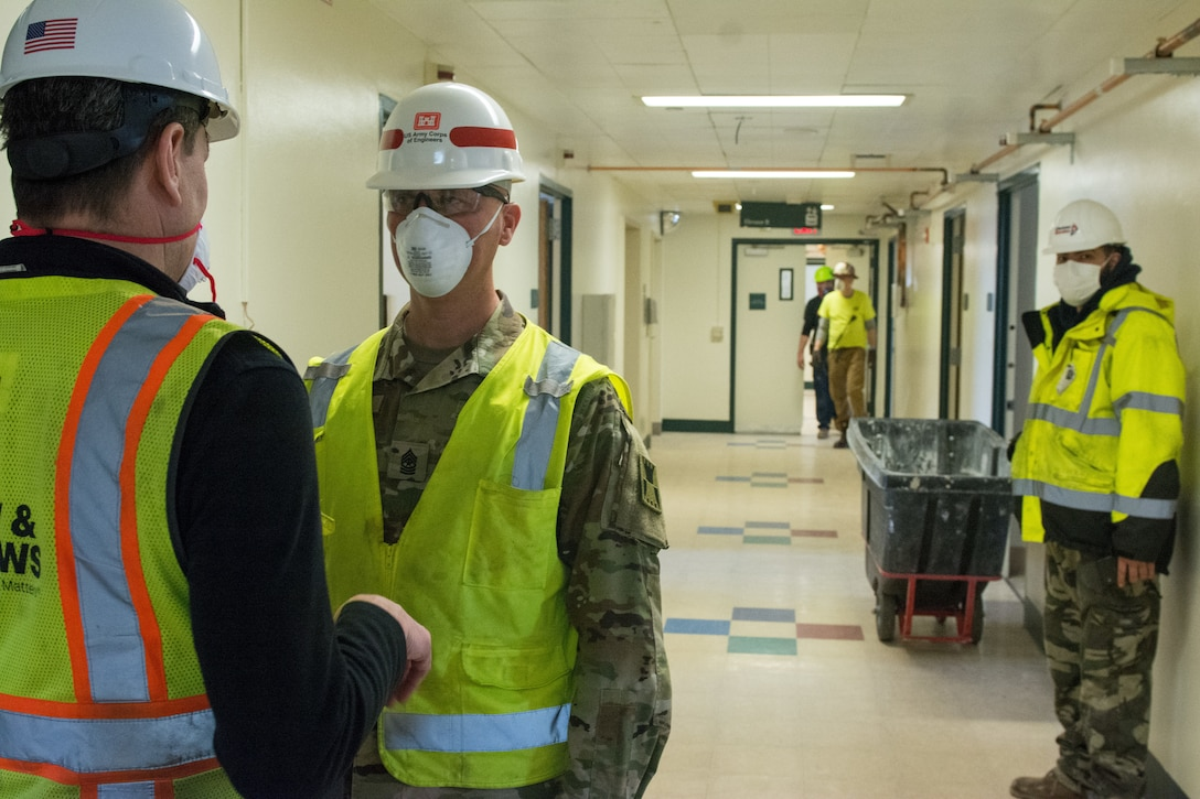 Closed hospital converted to alternate care facility within 3 weeks by Army Corps of Engineers, reserve engineers and contractors