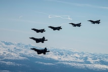 Two F-35A Lightning IIs and two F-16 Fighting Falcons assigned to Eielson Air Force Base fly alongside two F-22 Raptors assigned to Joint Base Elmendorf-Richardson as part of a mass formation flight May 5, 2020.