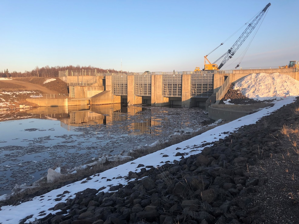 The Moose Creek Dam regulates stream flow on the Chena River to prevent flooding due to ice jams on April 27 near North Pole.