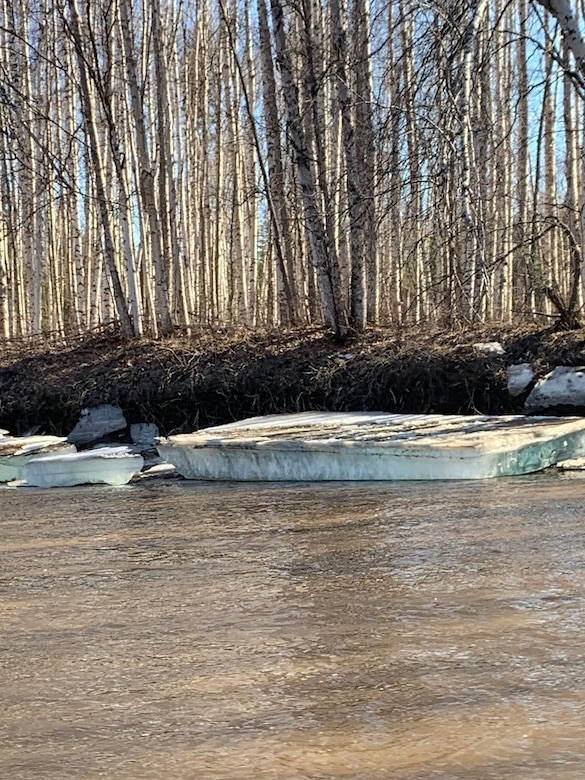A large piece of ice grounded on the banks of the Chena River on May 3, days after the U.S. Army Corps of Engineers – Alaska District ended its operation of the Moose Creek Dam to reduce flooding from ice jams along the Chena River.