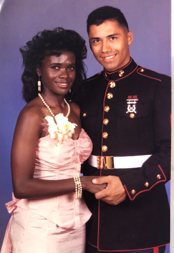 Alison Bruce-Maldonado and Emelio Maldonado attend the United States Marine Corps Birthday Ball at Kaneohe Bay, Hawaii, Nov. 10, 1989. The couple, who have been married since 1990, met in the U.S. Marine Corps and now serve in the Hawaii Air National Guard. Their 30 years of marriage and military service taught them several life lessons they hope to pass on to their fellow Airmen.