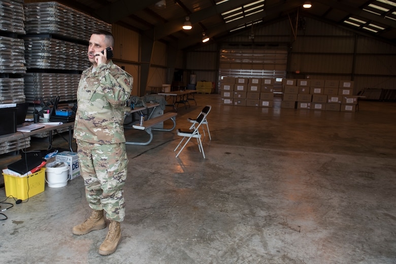 Senior Master Sgt. Jim DeCicco, the non-commissioned officer in charge of the West Virginia National Guard's Task Force Sustainment East, coordinates a shipment of personal protective equipment from the 167th Airlift Wing, April 24, 2020. The task force is responsible for the transport of PPE to emergency management offices throughout the eastern panhandle West Virginia.
