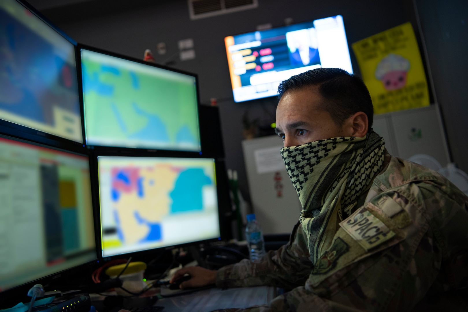 A U.S. Air Force Airman assigned to the 609th Air Operations Center performs tasks within the Combined Air Operations Center at Al Udeid Air Base, Qatar, April 20, 2020.