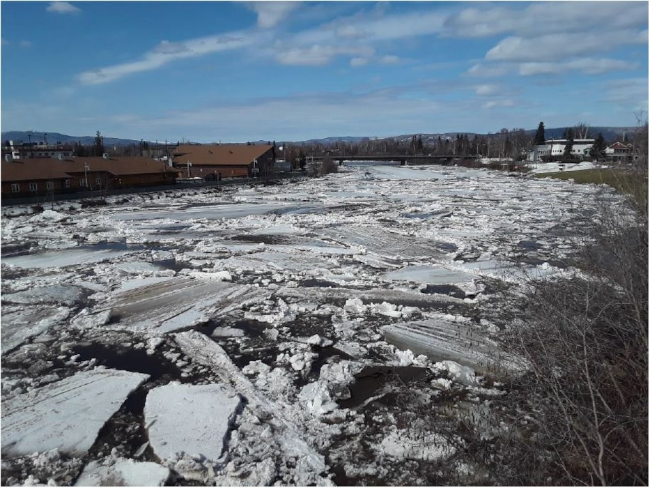 Officials for the U.S. Army Corps of Engineers – Alaska District observed an ice jam on the Chena River while monitoring changing river levels on April 23 near North Pole.