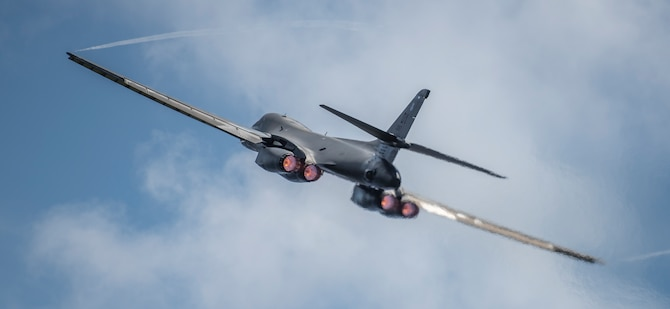 A 9th Expeditionary Bomb Squadron B-1B Lancer takes off at Andersen Air Force Base, Guam, May 8, 2020. It was one of two B-1s conducting a training mission in the South China Sea in support of Pacific Air Forces' training efforts and strategic deterrence missions to reinforce the rules-based international order in the Indo-Pacific region. The 9th EBS is deployed from the 7th Bomb Wing, Dyess AFB, Texas.  This is the first BTF deployment to the PACAF theater since the B-2 Spirit from the 393rd Bomb Squadron, Whiteman AFB, Missouri, deployed to Hawaii in January 2019. (U.S. Air Force photo by Senior Airman River Bruce)