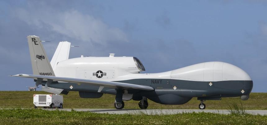 A MQ-4C Triton taxis at Andersen Air Force Base.