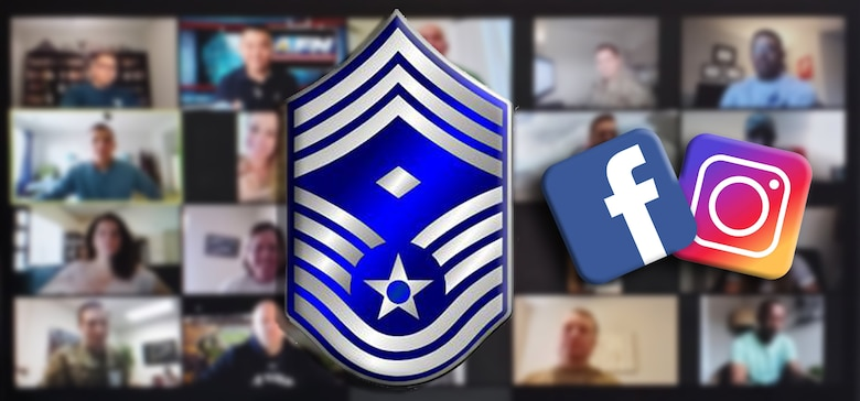 CMSgt, First Sergeant stripes with the Facebook and Instagram logo on a collage of video conferencing screenshots