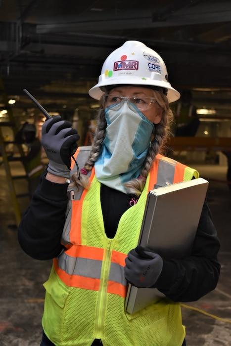 Safety Specialist Jonna Henry answers a call while on shift during the construction of the Alternate Care Facility in Memphis, Tennessee.