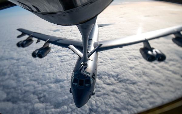 A U.S. Air Force B-52 Stratofortress receives fuel from a KC-135 Stratotanker from the 100th Air Refueling Wing, RAF Mildenhall, England, during a strategic bomber mission, May 7, 2020. Strategic bomber missions familiarize aircrew with air bases and operations in different Geographic Combatant Commands areas of operations.