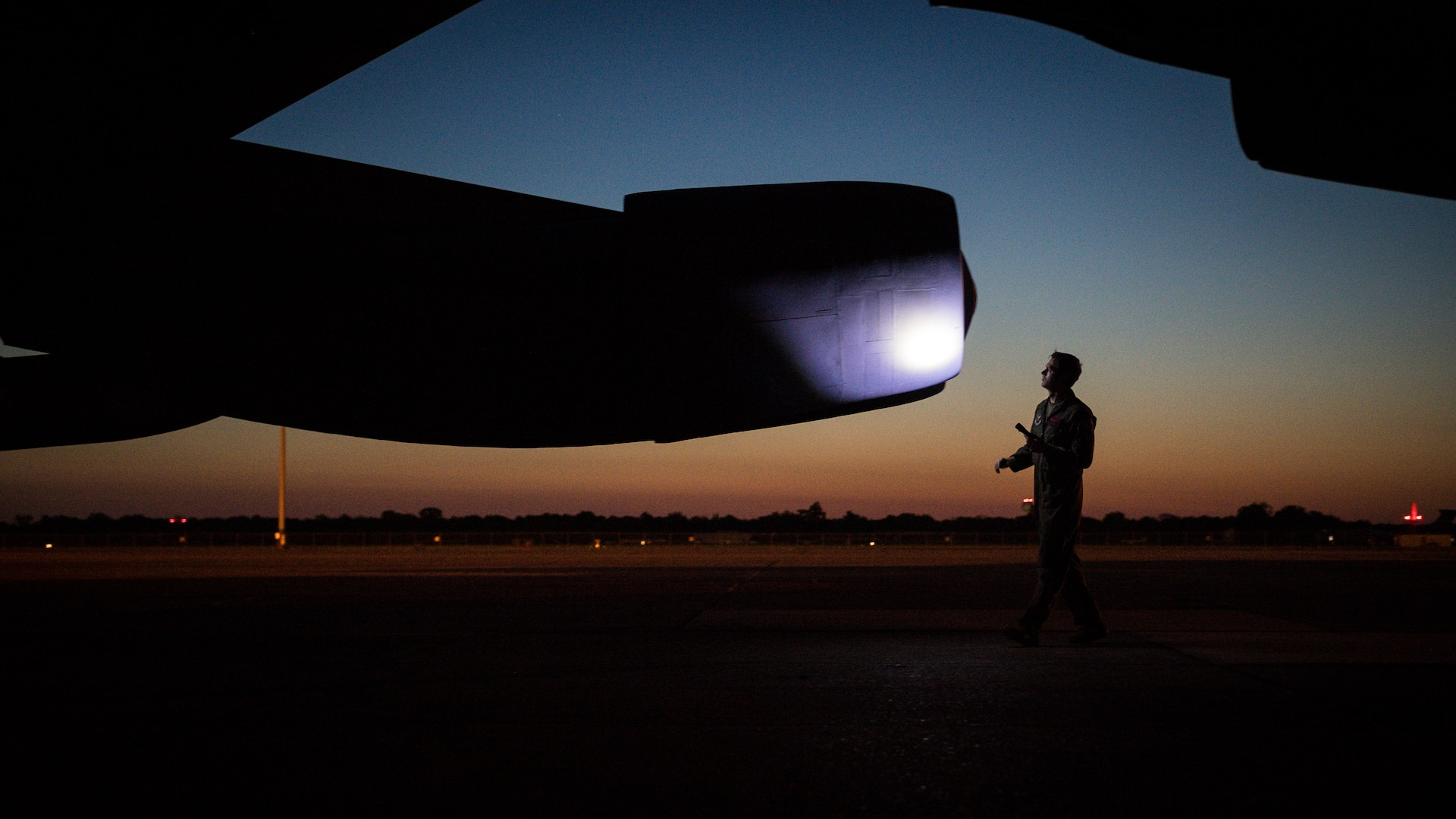 Capt. Mike Brogan, 96th Bomb Squadron pilot, inspects a B-52H Stratofortress while preparing for take off at Barksdale Air Force Base, La., May 7, 2020. Long-range, strategic bomber missions demonstrate the U.S capability to command, control and conduct strategic bomber missions around the globe, demonstrating U.S. commitment to allies and partners, the credibility and flexibility of our forces to address today's complex, dynamic and volatile global security environment.