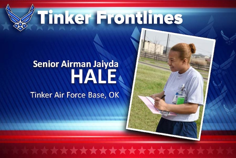Senior Airman Jaiyda Hale, a lab technician with the 72nd Medical Support Squadron, is originally from Columbus, Ohio, and has served in the U.S. Air Force for two years.