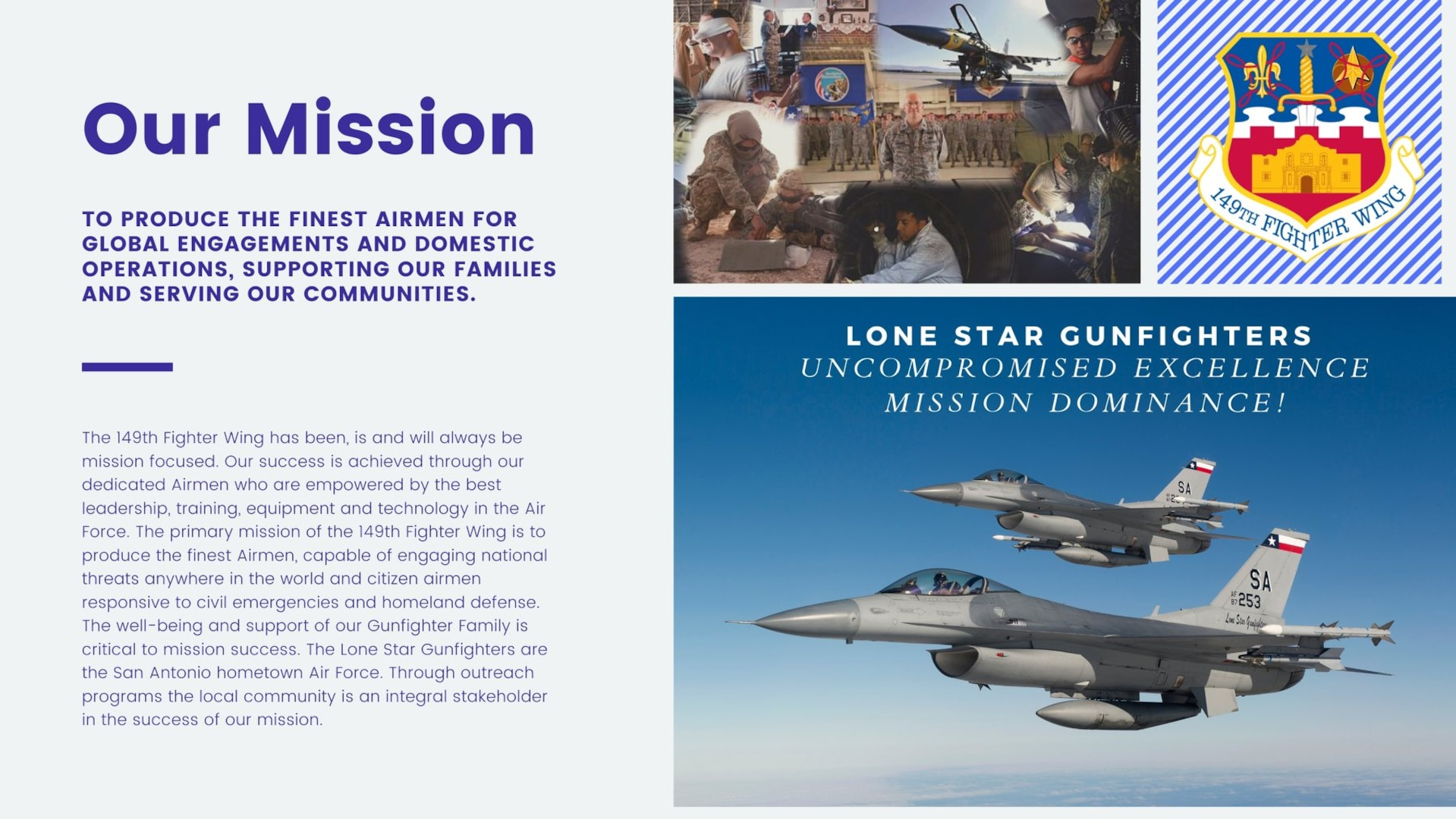 The Air National Guard's 149th Fighter Wing will fly over hospitals and medical support facilities in parts of Corpus Christi, Laredo and Lubbock May 11 as a way to honor the selfless sacrifice of all the health care workers, first responders, military and other personnel at the forefront of this crisis.