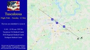 Tuscaloosa flight path and times