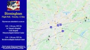 Birmingham flight path and times