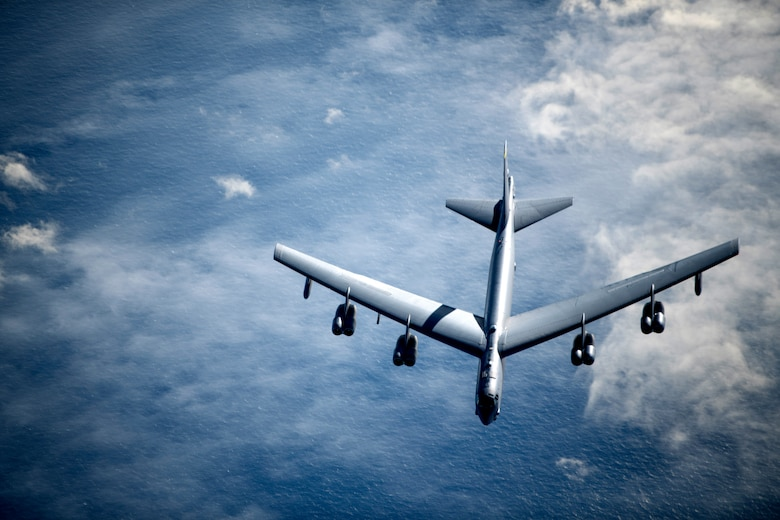 A U.S. Air Force B-52 Stratofortress breaks away from a KC-135 Stratotanker from the 100th Air Refueling Wing, RAF Mildenhall, England, after receiving fuel during a strategic bomber mission, May 7, 2020. Strategic bomber missions enable crews to maintain a high state of readiness and proficiency, and validate our always-ready global strike capability.