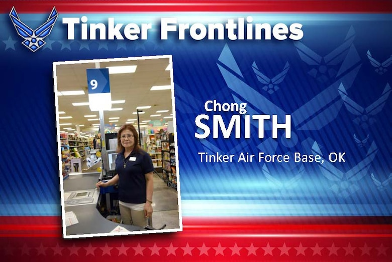 Chong Smith is a cashier at the Tinker Base Exchange and has worked here for 12 years.